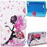 Voguecase® Para Wiko Lenny 2,Funda Carcasa Cuero Tapa Case Cover(Muchacha de la mariposa) + Gratis aguja de la pantalla stylus universales
