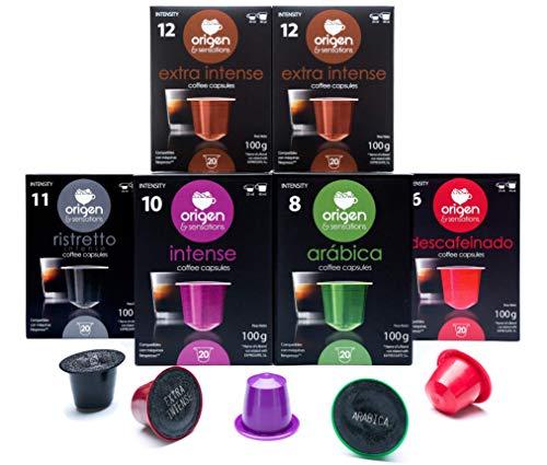120 Cápsulas Nespresso Surtido Compatibles con Máquinas Nespresso - 40 Extra Intense, 20 Ristretto, 20 Intense, 20 Arabica, 20 Decaf