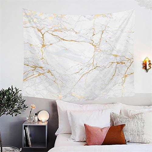 liuweixiong Nordic Wandteppich Gold und Weiß Wandteppich Marmor 3D natürlichen Fels Wandteppich Wandbehang Dekoration Schlafsaal Schlafzimmer Wohnzimmer hängen Tuch 130cmx150cm