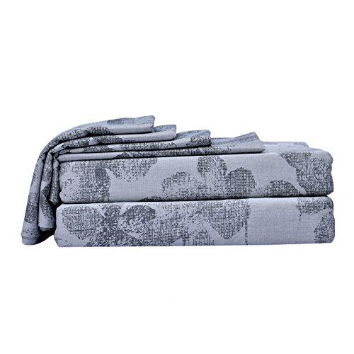 Just Leinen 350Fadenzahl 100% Qualität Ägyptische Baumwolle, echte Jacquard Damast Muster,, Shades of Grey Farbe, doppelte Größe Betten Spannlaken mit 4Kissen & Set Deep, Blatt