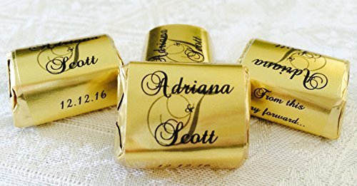 am Wedding Candy wrappers/stickers/labels that fit your HERSHEY NUGGETS (Personalized Favors) for any Party or Event by The Camera Depot (Gold Wrapper, Candy)