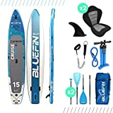Paquete de Sup Bluefin Cruise | Tabla de Paddle Surf Hinchable | Remo de Fibra de Vidrio | Kit de Conversión a Kayak | Accesorios Completos | Varias Medidas: 10'8, 12', 15' (Azul 365cm)