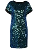 PrettyGuide Damen Pailletten Tunika Kleid Lose Glitter Dolman Hülse Party Cocktailkleid S Symphonie Grün