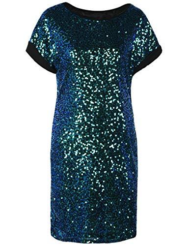 PrettyGuide Damen Pailletten Tunika Kleid Lose Glitter Dolman Hülse Party Cocktailkleid S Symphonie Grün