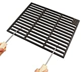 AKTIONA Gusseisen Grillrost 48 x 48 cm Grillclub + 2 Abnehmbare Handgriffe Guss, Gasgrill, Rost, Grill Buschbeck