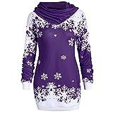 YWLINK Damen Mode Weihnachten Schneeflocke Bedruckte Kapuzensweatshirt Bluse Pulli Pullover Rollkragen Frauen Oberteile(XXL,Lila)