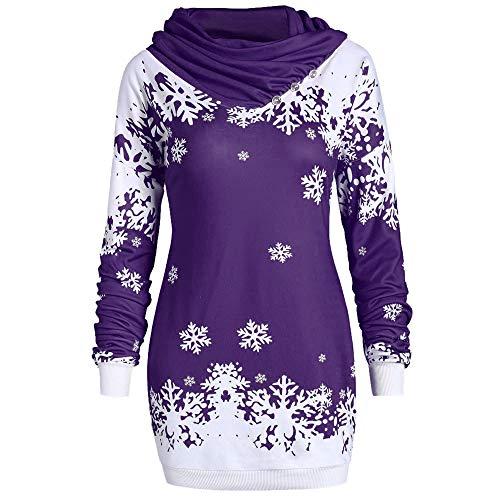 SEWORLD Heißer Einzigartiges Design Mode Damen Frauen Frohe Weihnachten Langarm Schneeflocke Bedruckte Tops Wasserfallausschnitt Sweatshirt Bluse(Violett,EU-40/CN-XL)