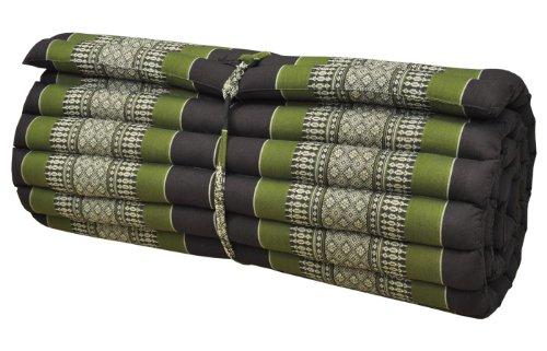 Colchón tailandés L (75 cm) alfombra, meditación, yoga, gimnasia, playa, jardín, fabricado en Tailandia, marrón/verde (82014)