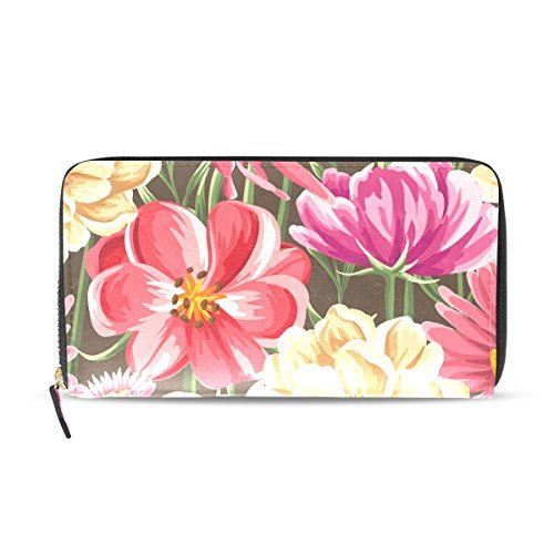 Franzibla Tropical Floral Print Women's Clutch Leather long Wallet Card Holder Purse Bag