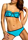 CASPAR BIK003 Damen Bandage Triangel Bikini Set Unicolor, Farbe:blau;Größe:40 L UK12 US10
