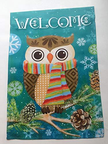 Lantern Hill Winter-Eule mit Schal Welcome Garden Flagge, doppelseitig, 31,8 x 45,7 cm, Wintersaisonal dekoratives Banner (Winter Eule Garten Flag)