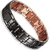 Moneekar Jewels Matt Gun Black Copper Double Row 3500 Gauss Magnetic Therapy Bracelet
