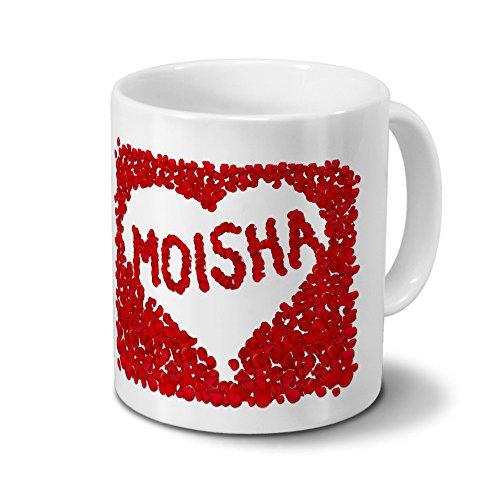 Tasse mit Namen Moisha - Motiv Rosenherz - Namenstasse, Kaffeebecher, Mug, Becher, Kaffeetasse - Farbe Weiß