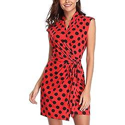 Vestidos con diseño de Lunares Mujeres con Cuello en V Crossover Sexy Moda Pretina Short Red con Negro - M