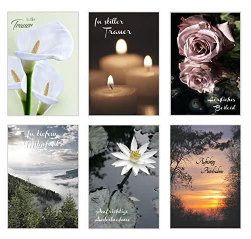 Edition Seidel Set 6 exklusive Premium Trauerkarten/Beileidskarten mit Umschlag. Trauerkarte Beileidskarte mit Spruch schreiben (Doppelkarten/Klappkarten mit