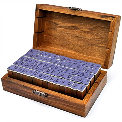 z Gummi Stempel Set Box Holz Stempelset Alphabet Buchstaben Stamp Letters ()