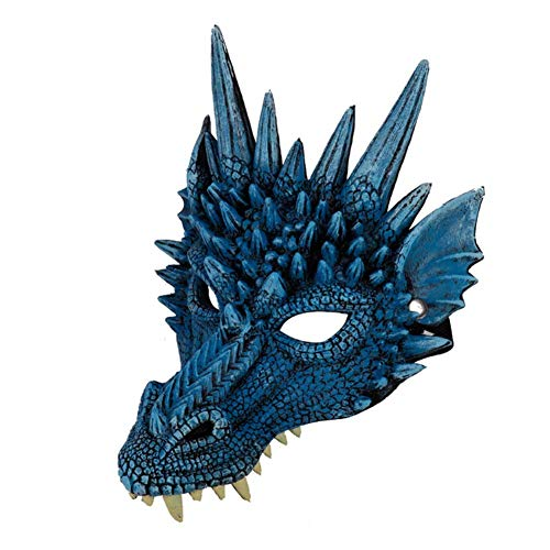 Exotische Kostüm - iSunday Halloween Maske 3D Drachen Cosplay Kostüm für Herren Damen Karneval-Party Mardi Gras - Blau
