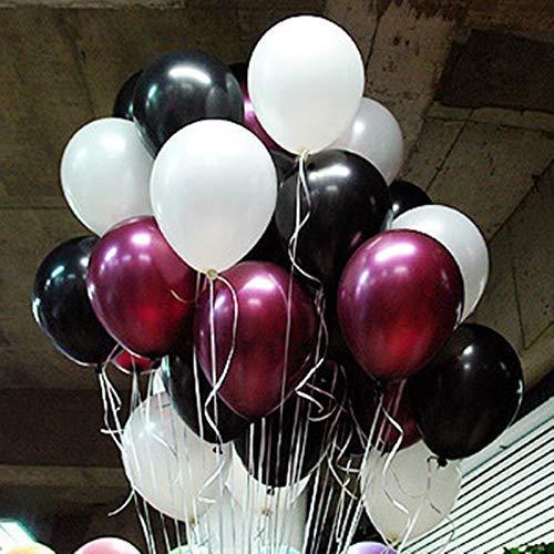 Erosion Burgund Latexballons 12-Zoll-Partydekorationen Ballons Packung mit 100 für Geburtstagsparty Jubiläumsfeier (weiß, schwarz, Burgund)