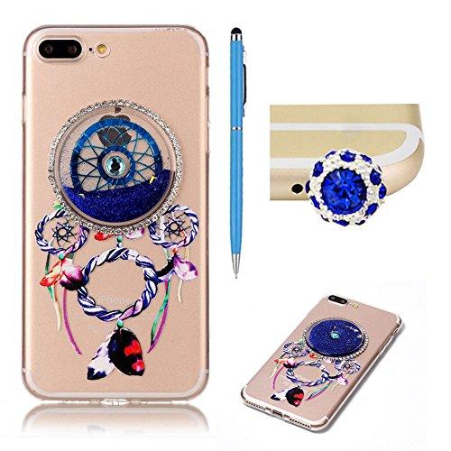SKYXD Pour Iphone 7 PLUS 5.5 Pouce Coque 3D Motif Campanule Bling Glitter Fluide Liquide Sparkles Sables Mouvants Paillettes Flowing Brillante Étui Strass Ultra Mince Transparente Crystal Clair Souple Bleu