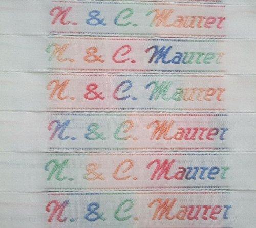 50 NAMENSETIKETTEN Wäscheetiketten 10mm Etiketten Textil hochwertige Kleidungsetiketten in allen Farben des Regenbogens gewebt mit Ihrem Namen zum EINNÄHEN