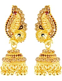 Handicraft Kottage Gold Plated Jhumki Earrings for Girls (Golden) (HK-Earring-046)