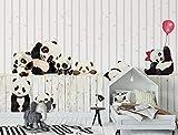 Nordic moderno e minimalista panda bianco e nero fumetto camera dei bambini parete di fondo 150cmx105cm Carte da parati non tessute/Murales/Sfondi per foto/Rivestimenti per pareti/Pitture mura