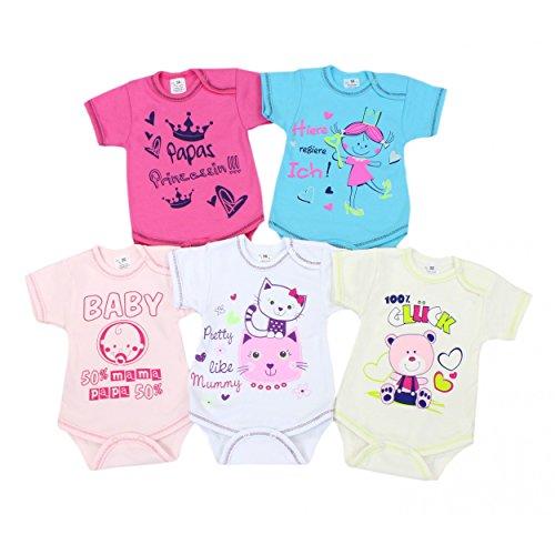 Baby Kurzarm-Body mit Aufdruck und Spruch Babybody Baumwolle Mädchen Bodys Jungen im 5er Set , Farbe: Mädchen, Größe: 80