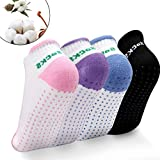 Ondder Yoga Socks Women Silicone Dot Grips Cotton Non Slip Anti-Skid Yoga Pilates Socks, 4 Pairs