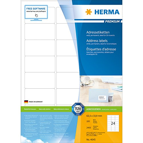 Herma 4645_ A4, 63,5 x 33,9 mm - Pack de 2400 etiquetas de dirección, A4, 63.5 x 33.9 mm, color blanco
