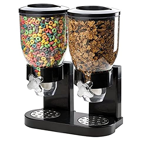Countertop Cereal Dispenser Canister, for Breakfast, Kids Food Container, Dry Meal Storage Jar (Double Cereal Dispenser)