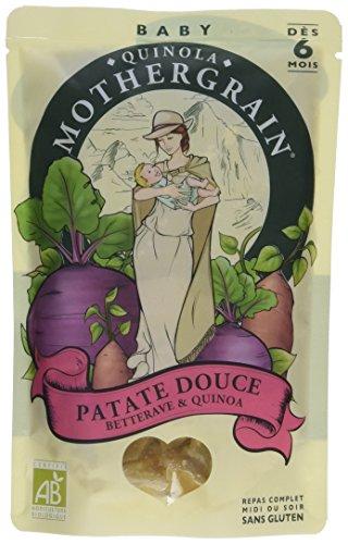 Quinola Mothergrain Repas Bio dès 6 mois Patate Douce Betterave Quinoa 190 g - Lot de 4