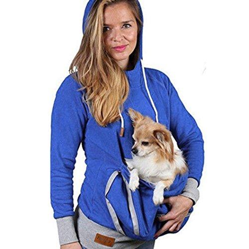 Damen Kapuzenpullover,Honestyi Unisex Känguru Haustier Hund Katze Halterbeutel Tasche Baumwollbluse Kapuzenoberteile sweatshirts T-shirt langarm bluse Tops (XXL, Blau)