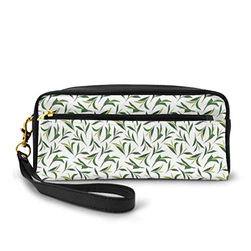 Pencil Case Pen Bag Pouch Stationary,Green Tea Leaves On Plain Background Growth Health Herbs Foliage Nature Illustration,Small Makeup Bag Coin Purse
