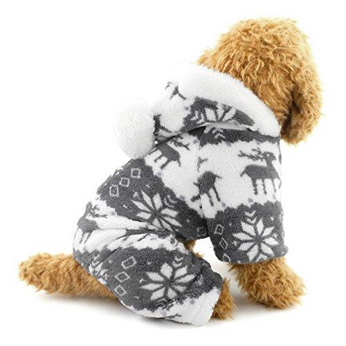 Ranphy-Hunde/Katzen-Kleidung/Kapuzenpulli für kleine Hunde - für Männchen und Weibchen - Weiches Samt - Rentier-Muster - Hunde-Schlafanzug/Jumpsuit für Welpen (R Outfit)