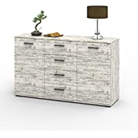 Kommode Sideboard Highboard Chicago in Shabby Chic Used Look mit 2 Türen und 4 Schubladen