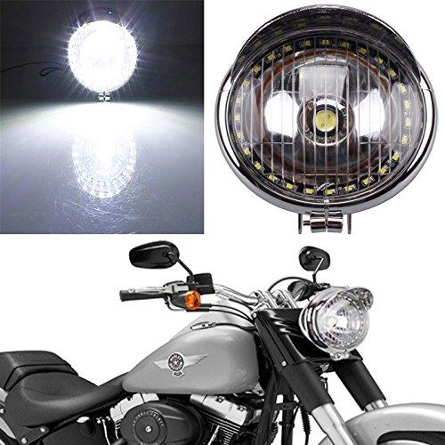Motorrad Chrome LED Angel Eye Scheinwerfer-Lampe für Harley Bobber Chopper Cruiser Cafe