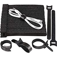 H&S 100 Reusable Cable Ties Straps Adjustable Tidy Wrap Hook and Loop Long Large Strong Black for PC Computer Electronics