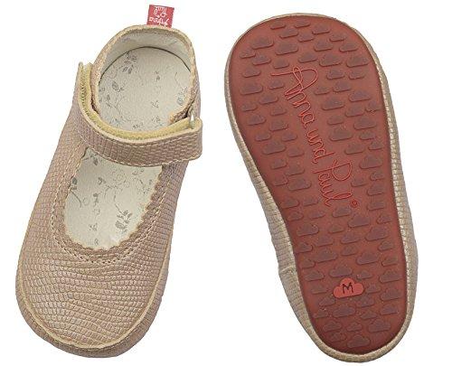 Anna e Paul per gattonare scarpe primi passi sandali con suola in gomma Wölckchen rosa/a pois, Beige (Beige (sisal)), 22