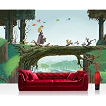 Papel Pintado Fotográfico Premium Plus pared–Fotomural Pared De Papel pintado infantil papel pintado Disney Princesses Disney Bella durmiente Bosque Pájaros Conejo verde–No. 2612, verde, Fototapete 368x254cm | PREMIUM Blue Back