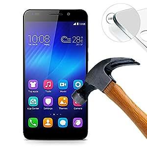 Lusee® Huawei Honor 6 Film de Protection écran en Verre Trempé ULTRA RÉSISTANT INDICE Dureté 9H Haute transparence( plus dure que un couteau) – il est vendu avec un torchon de nettoyage et alcool isopropilique