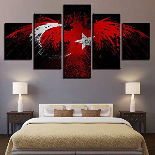 Ssckll Leinwandbilder Für Wohnzimmer Hd Drucke 5 Stücke Flagge Der Türkei Gemälde Abstrakte Adler Poster Wohnkultur Wandkunst-Rahmen (Adler Bilder)