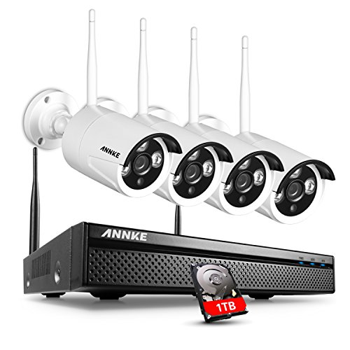 ANNKE 4 Channel Wi-Fi Full HD 960p NVR Wireless CCTV Camera Systems 1TB Surveillance Hard Drive w/ 4 x 960p IP Cameras, Wi-Fi Transmission, Enhanced Wireless Antenna, All-weather Adaptation