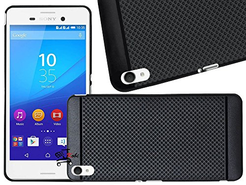 Jkobi Classic Dotted Designed Soft Rubberised Back Case Cover For Sony Xperia M4 Aqua/ M4 Aqua Dual - Black  available at amazon for Rs.198
