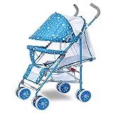 CDREAM Sommer Ultra-Light Tragbaren Kinderwagen Kann Sitzen Ruhen Faltender Stoßdämpfer Vierrädriger Baby-Handdruck-Regenschirm 1-3 Jahre Alt,Blue
