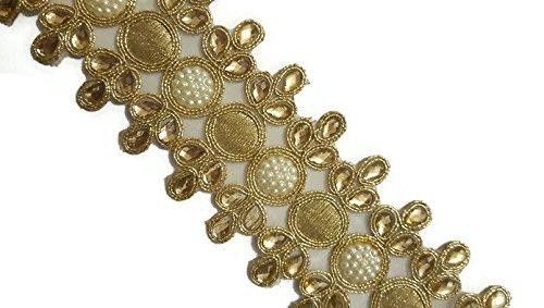 Goldfarbener Perlenspiegel, Kundan Arbeitsverzierung, breit, Sari-Spitze, indische Spitze, einfaches Nähen, Breite 4 cm, Preis für 1 Yard-IDL18 -