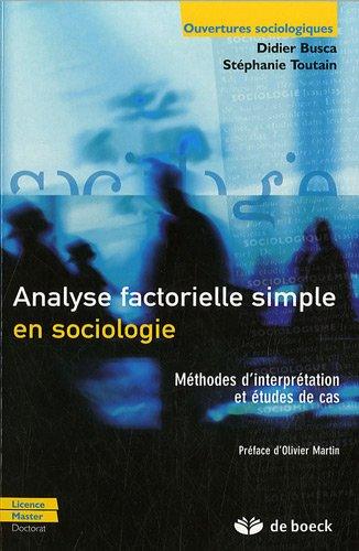Analyse factorielle simple en sociologie