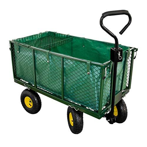 Talk-Point Georges Handwagen, Gartenwagen, Bollerwagen, Transportwagen bis 550Kg belastbar - Luftbereifung - herausnehmbare Innenplane