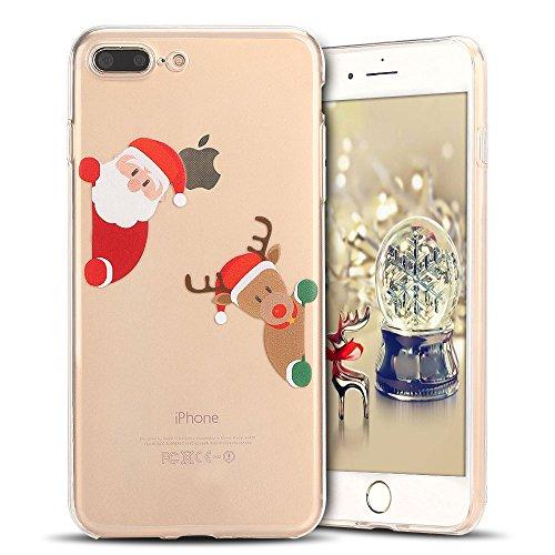 Cover iPhone 7 plus Custodia iPhone 8 plus Silicone Natale Anfire Morbido Flessibile TPU Gel Case Cover per Apple iPhone 8 plus/7 plus (5.5 Pollici) Ultra Sottile Clear Trasparente Copertura Antiurto  Babbo Natale e Orso