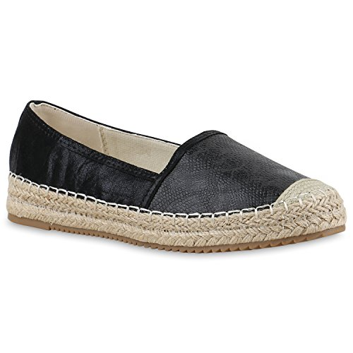 da7e7bdd26 Damen Espadrilles | Metallic Slipper |Bast Profilsohle Flats | Freizeit  Schuhe | Glitzer Prints Spitze