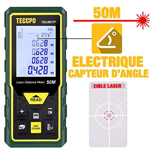 Télémètre laser 50M, Metre laser TECCPO, Capteur électronique angulaire, m/in/ft/ft+in, Fonction Muet, 30 Stockage de Données, mesure de la Distance, de la Surface et du Volume, Angle, IP54, TDLM21P